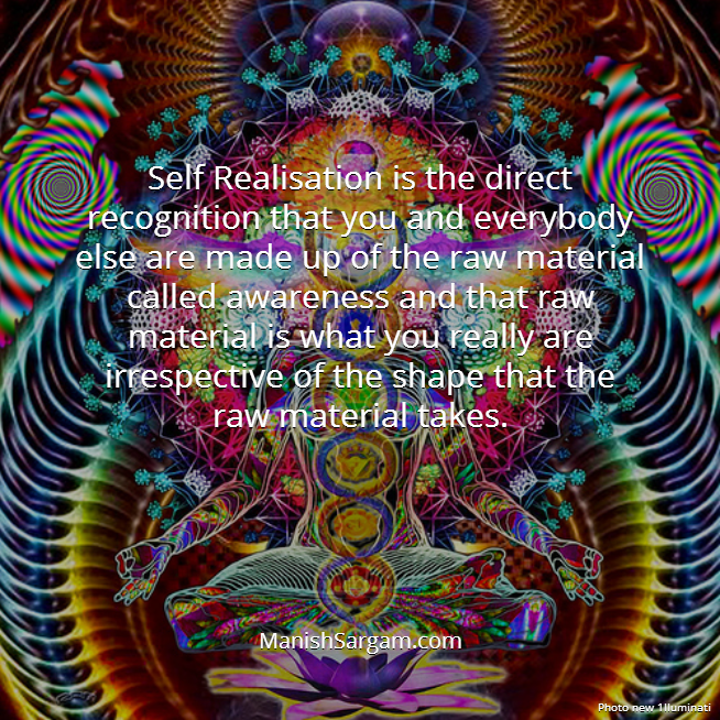 Self Realisation is the direct recognition that you and everybody else are made up of the raw material called awareness and that raw material is what you really are irrespective of the shape that the raw material takes.