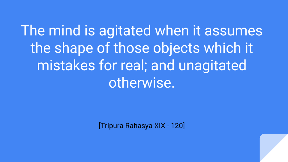 The mind is agitated when it assumes the shape of those objects which it mistakes for real; and unagitated otherwise.
